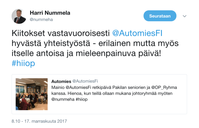 Harri Nummela, Twitter, Automies